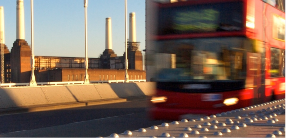 London bus in front of Battersea Power Station